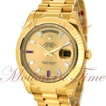 Rolex Day-Date II President, Champagne Diamond Dial, Fluted...