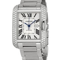 Cartier WT100009 Tank Anglaise - Diamond Bezel - White Gold on...