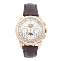 Patek Philippe Rose gold Manual winding Silver No numerals 41mm pre-owned Perpetual Calendar Chronograph