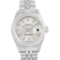 Rolex Date Silver Baton Dial Automatic Steel Womens Watch 69240