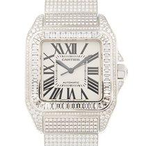 卡地亚  Santos 18k White Gold With Diamond White Automatic...