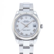 Rolex Steel Automatic White 31mm pre-owned Lady-Datejust