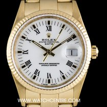 Rolex 18k Yellow Gold O/P White Roman Dial Date Gents 15238