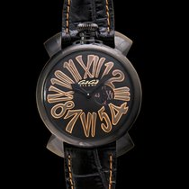 Gaga Milano Slim 46mm PVD Black PVD/Leather - 5086.01
