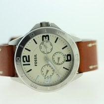 Fossil BQ2205 Day Date Silver Brown Leather Strap Mens Watch...