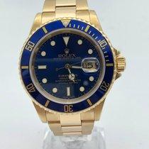 Rolex Submariner Date Or jaune 40mm Bleu Sans chiffres