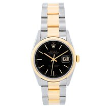 Rolex Datejust pre-owned 36mm Black Date Gold/Steel