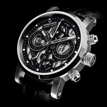 뱅가드 스틸 42mm 자동 Chrono black skeleton squelette noir design 신규