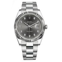 Rolex Datejust 41mm Steel Dark Rhodium Diamond Dial Watch 126334