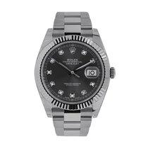 ロレックス Datejust 41mm Steel Dark Rhodium Diamond Dial Watch 126334