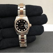 Rolex 179171 TT RG Ladies Datejust w/ Black Dial & Papers