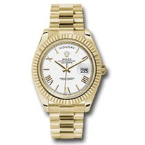 Rolex Day-Date 40 Oro amarillo 40mm Blanco Romanos