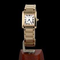 Cartier Tank Française Жёлтое золото 20mm Белый Римские