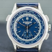 Patek Philippe World Time Chronograph White gold 39.5mm Blue