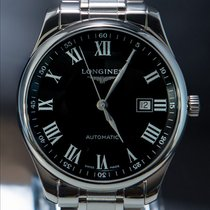 Longines Master Collection Stal 42mm Czarny Rzymskie