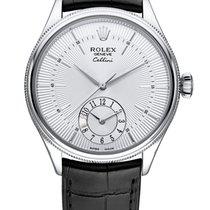 Rolex Cellini Dual Time White gold 39mm Silver No numerals