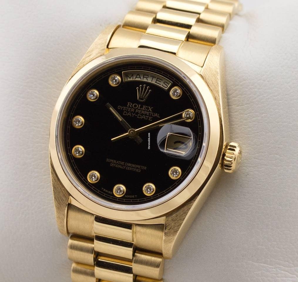 rolex day date president automatic 18k gold glatte l nette onyx f r kaufen von einem. Black Bedroom Furniture Sets. Home Design Ideas