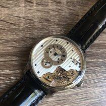 Glashütte Original PanoMaticInverse pre-owned 42mm Silver Date Crocodile skin