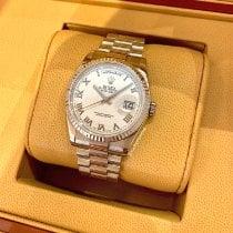 Rolex Day-Date 36 Bjelo zlato 36mm Srebro Rimski brojevi