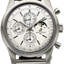 Breitling Transocean Chronograph 1461 Staal 43mm Zilver Geen cijfers