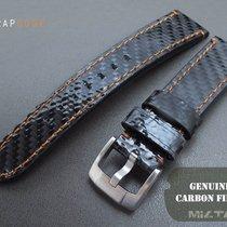 MiLTAT Carbon Fiber Black Watch Band, 20mm Orange Stitch
