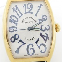 Franck Muller Sunset 18k Yellow Gold Watch 6850 Blue Numerals...
