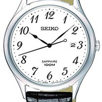 Seiko SGEH75P1 SEIKO CLASSIC UOMO Acciaio pelle nera-bianco 40mm новые