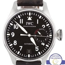IWC MINT Men's IWC Big Pilot Black 5009 7-Day 46mm Stainless...