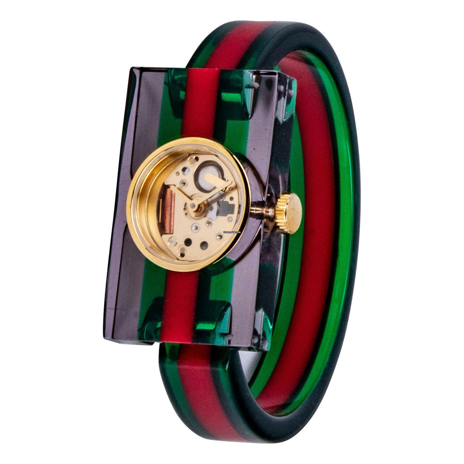 59d7de6f9f7 Gucci YA143503 Vintage Web Plexiglas Skeleton Dial Green Red... for  442  for sale from a Seller on Chrono24