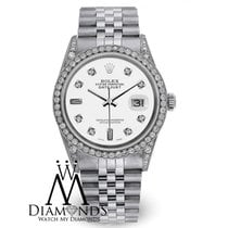 Rolex 36mm Datejust White 8+2 Diamond Stainless Steel Watch