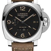 Panerai Luminor 1950 10 Days GMT Staal 44mm Zwart Arabisch