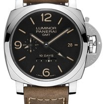 Panerai Luminor 1950 10 Days GMT Stal 44mm Czarny Arabskie