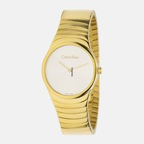 33893cba2c1 ck Calvin Klein Ladies K8A23546 Whirl White Dial Gold Tone.