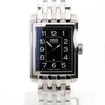 Oris Rectangular Steel 30mm Black Arabic numerals