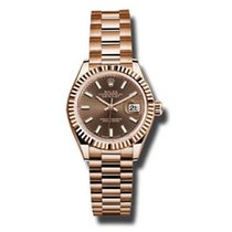 Rolex Or rose Remontage automatique Brun 28mm nouveau Lady-Datejust