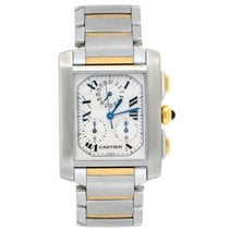 Cartier Tank Française pre-owned 28mm White Chronograph Steel