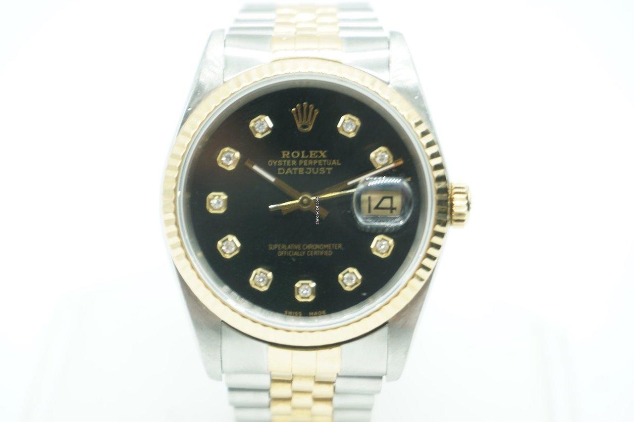 Rolex Datejust 36 Two Tone Black Diamond Dial Jubilee Steel