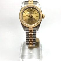 Rolex Oyster Perpetual Acero y oro 24mm Champán Sin cifras