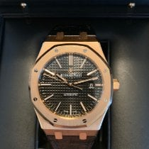 Audemars Piguet Red gold Automatic Black No numerals 41mm pre-owned Royal Oak Selfwinding