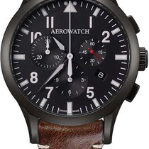 Aerowatch Les Grandes Classiques Steel 42mm Black Arabic numerals