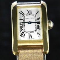 Cartier Tank Américaine Aur galben 19mm Alb Roman