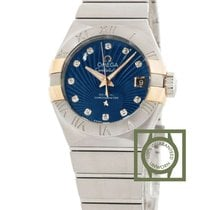 Omega Constellation Co-Axial 27mm Blue Dial Pink Gold Diamonds...