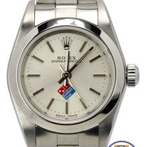 Rolex Oyster Perpetual 24mm Silver Domino's 76080 Stainless Watch