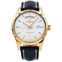 Breitling Transocean Day & Date Rose gold 43mm Silver