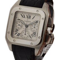 Cartier W20090X8 Santos 100 Chronograph - Steel on Strap with...