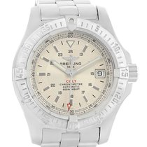 Breitling Colt Silver Dial Steel Mens Watch A17380 Box Papers