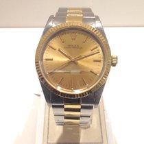 Rolex Oyster Perpetual Ouro/Aço 34mm Champanhe Sem números