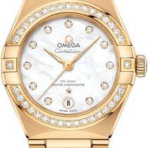 Omega Constellation Ladies Gelbgold 29mm Silber
