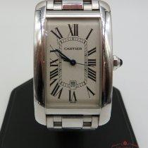 Cartier Белое золото Автоподзавод Белый Римские 27mm подержанные Tank Américaine