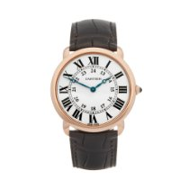 Cartier Ronde Louis Cartier Or rose 36mm Blanc Romain